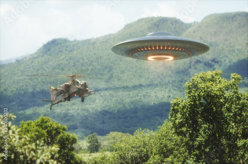 Poster de jardin UFO Worlds War. Military helicopter intercepting an unidentified flying object. Concept image of non-pacific invasion of beings from other planets.