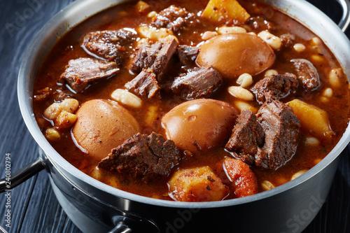 Photo  close-up of hot Traditional Jewish Cholent Hamin