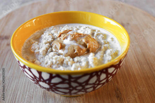 Fotografie, Obraz  Vegan Savory Breakfast Food of Peanut Butter Oatmeal