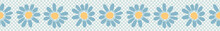 Vector Bold Blue Flowers On Polka Dots. Hand Drawn Seamless Vector Border. Spring And Summer Floral Banner Ribbon In Simple Daisy Flat Color.
