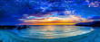 canvas print picture Blue Sunset at Evening Over Beach