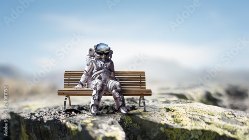Rocketman on bench. Mixed media