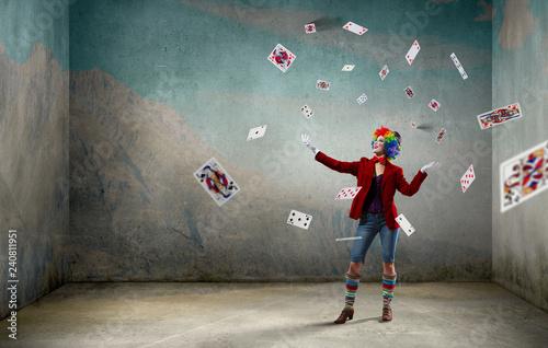Photo  Juggling woman clown . Mixed media