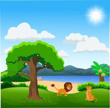Couple Of Lion Cartoon  On Beautiful Landscape