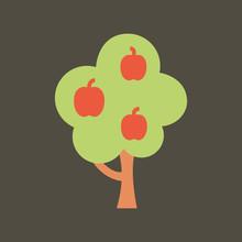 Silhouette Icon Apple Tree