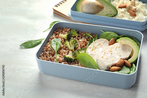 Container with natural protein food on light background