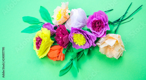 Tools Making Crepe Paper Flowers Green Background Buy This Stock