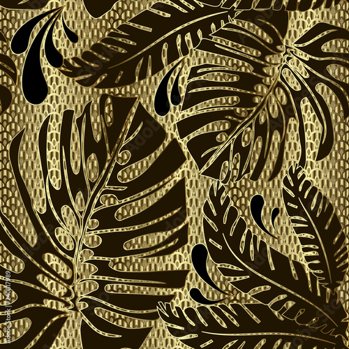 Foto  Palm leaves ornate vector seamless pattern