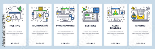 Web site onboarding screens. Computer and internet services, coding. Menu vector banner template for website and mobile app development. Modern design linear art flat illustration.
