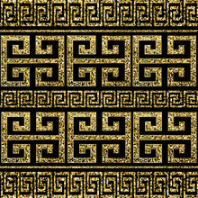 Gold Glitter Shiny Greek Vector Seamless Border Pattern. Magic Ornate Luxury Ancient Background. Geometric Repeat Shine Pattern. Greek Key Meander Glowing Borders Ornament With Gold Dust, Dots, Spray