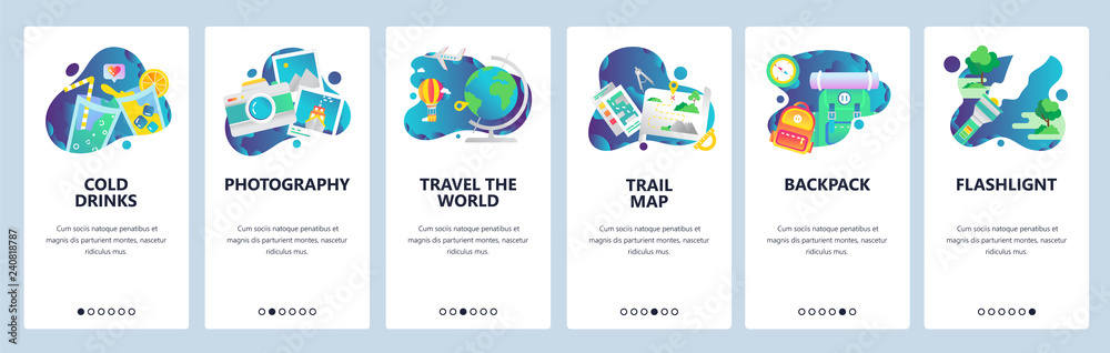 Fototapety, obrazy: Web site onboarding screens. Holiday travel icons, camping and outdoor hiking, travel the world. Menu vector banner template for website and mobile app development. Modern design linear art flat