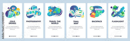 Fototapeta Web site onboarding screens. Holiday travel icons, camping and outdoor hiking, travel the world. Menu vector banner template for website and mobile app development. Modern design linear art flat obraz