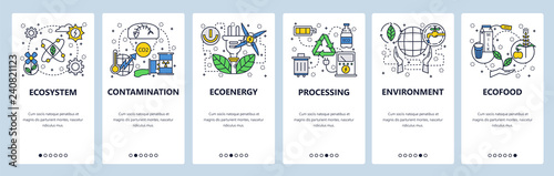 Web site onboarding screens. Ecology and environment contamination, waste recycle, organic food. Menu vector banner template for website and mobile app development. Modern design linear art flat
