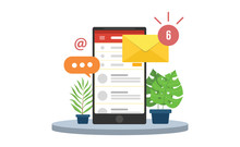 Email Mobile Notifications With Smartphone And Envelope Icons And Sign Of Notifications Inbox