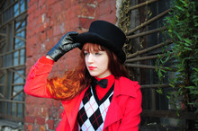 Girl Wearing A Cylinder Hat. Retro, Long.