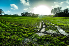 Waterlogged Farm Fields In Combe Valley, East Sussex, England