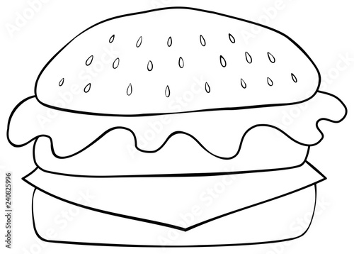 Hamburger Coloring Page Hand Drawn Style Buy This Stock