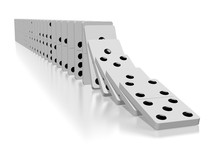 3D Falling White Dominoes