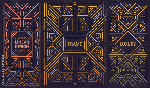 Vector set of abstract art deco frames. Linear modern style, monogram geometric banners, luxury packaging design, poster, inviation, cover