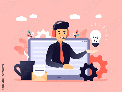 Concept customer and operator, online technical support 24-7 for web page. Vector illustration male hotline operator advises client. Online assistant, virtual help service for business