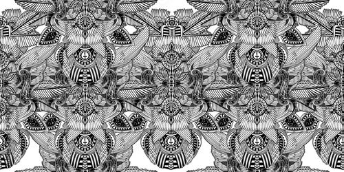 Valokuva  Egyptian African magic geometric folklore ornament.