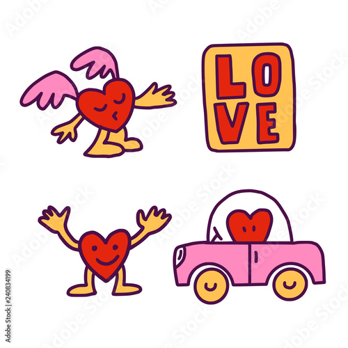Вoodle Hearts set and car Wallpaper Mural