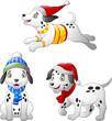 Cartoon Dalmatian dog wearing a winter hat and scarf