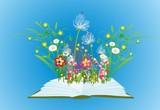 Fototapeta Kwiaty -  kompozycja z otwartą książką z której wyrastają kwiaty i trawa