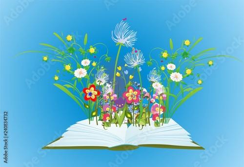Obraz  kompozycja z otwartą książką z której wyrastają kwiaty i trawa  - fototapety do salonu