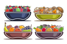 Vector Set Of Dishes With Fruits, Collection Of 4 Still Life Composition On Plates With Heap Of Sweet Berries, Wild Portobello Mushrooms, Juicy Apple And Lemon, Cartoon Cucumber And Broccoli On White.