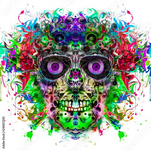 Череп на цветном творческом таинственном фоне