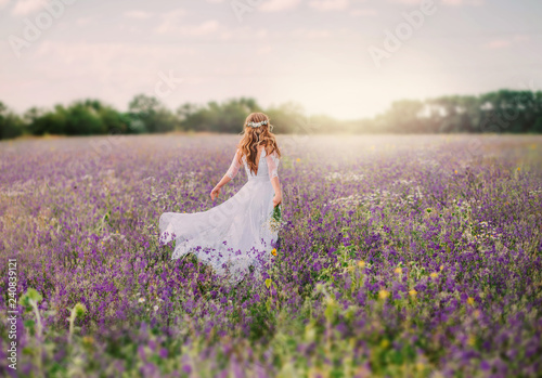 young lady dressed in an elegant long white dress with transparent sleeves and , with a neat hairstyle of blond hair decorated with a white wreath, walks across the field of purple flowers. no face