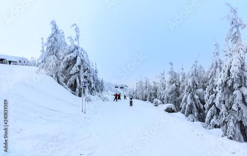 Fotobehang Winter in Szczyrk in Beskidy Mountains - New ski slope from Skrzyczne to Zbojnicka Kopa opened december 2018