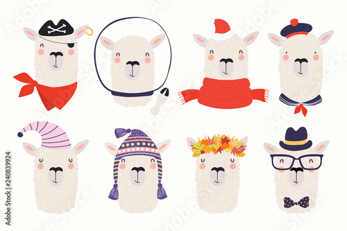 Poster Des Illustrations Big set of cute funny different llamas in hats and glasses. Isolated objects on white background. Hand drawn vector illustration. Scandinavian style flat design. Concept for children print.