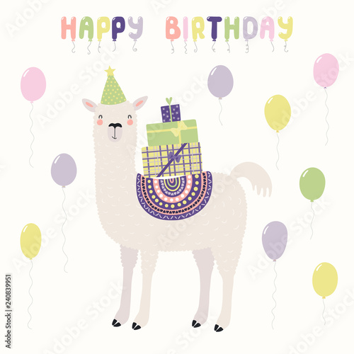 Hand Drawn Card With Cute Funny Llama In A Party Hat Carrying Presents Balloons Text Happy Birthday Vector Illustration Scandinavian Style Flat Design