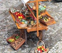 Cart Of Greengrocer With Fruit...