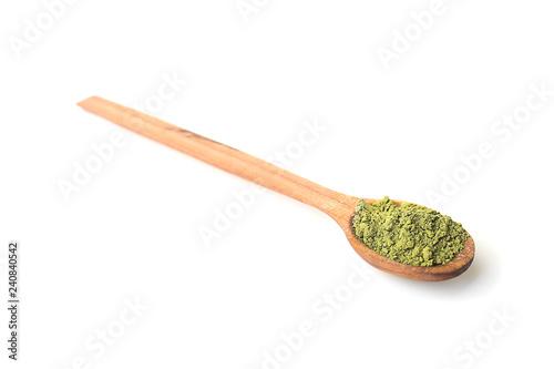 Fotografie, Obraz  Spoon with matcha tea powder on white background
