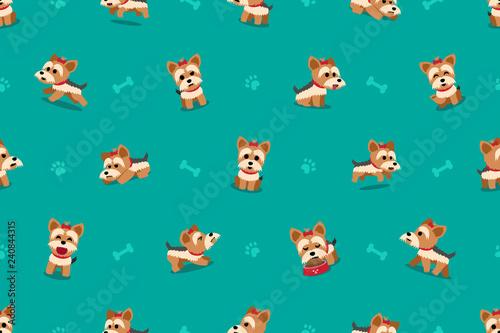 obraz PCV Vector cartoon character yorkshire terrier dog seamless pattern for design.