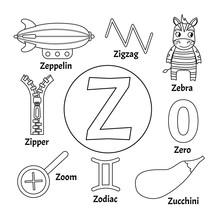 Vector Cute Kids Animal Alphabet. Letter Z. Set Of Cute Cartoon Illustrations. Coloring Page.