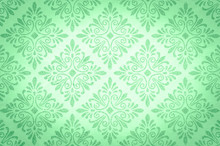 Decorative Floral Green Pattern On The White Background