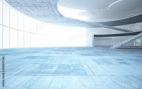 Abstract white and concrete interior multilevel public space with window Wallpaper Mural