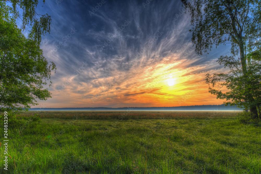 Obraz Wschód słońca łąka fototapeta, plakat