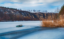 Old Fishing Boat Frozen In The Ice, Rusenski Lom Canyon, Ruse District, Bulgaria