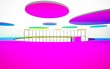 Leinwanddruck Bild - Abstract white and colored gradient  interior multilevel public space with window. 3D illustration and rendering.