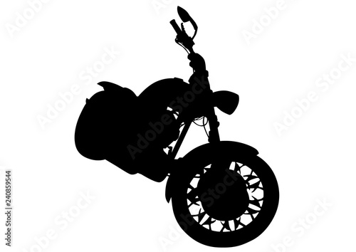 Foto op Canvas Motorfiets Old big bike and man white background