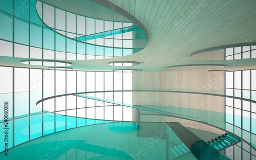 Abstract concrete and wood interior multilevel public space with window. 3D illustration and rendering.