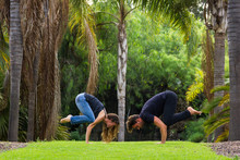Yogi Couple In Crow Pose In Na...