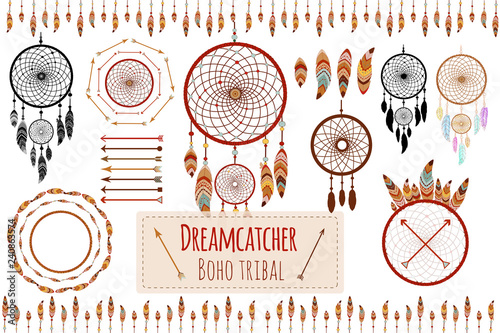 Foto auf AluDibond Boho-Stil Hand drawn tribal collection with arrows, feathers, dreamcatcher