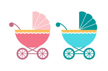 Baby Pram, Carriage, Stroller In Blue And Pink