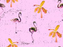 Large Flamingo Red Hawaiian Seamless Pattern.